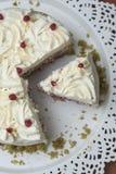 五颜六色的Matcha Strawbery蛋糕片断与白色奶油和绿茶的,在黑色的盘子 独特的自创蛋糕食谱 免版税库存照片