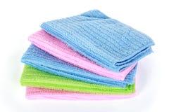 五颜六色的microfiber清洁毛巾 免版税库存照片