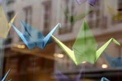 五颜六色的origami起重机在商店窗口里 免版税库存图片