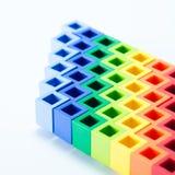 五颜六色的plactic块关闭 库存照片