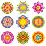 五颜六色的rangoli样式的汇集印度节日装饰的 免版税库存照片