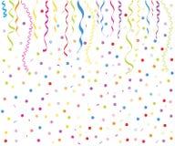 五颜六色的smal气球、五彩纸屑和丝带传染媒介 库存图片