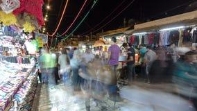 五颜六色的souk在老城耶路撒冷以色列夜timelapse 股票录像