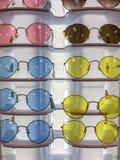 五颜六色的sunglass显示 库存图片