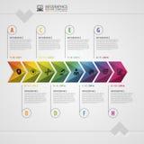 五颜六色的Timeline.Colorful时间安排 Infographic设计模板 现代的概念 也corel凹道例证向量 库存例证