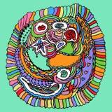 五颜六色的Zentangle乱画传染媒介 库存照片