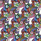 五颜六色的Zentangle无缝的样式传染媒介 库存照片