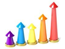 五颜六色箭头的图表 免版税库存图片