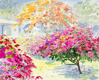 绘五颜六色纸花在庭院里 图库摄影