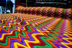 五颜六色织品纹理纺织品帆布 免版税库存图片