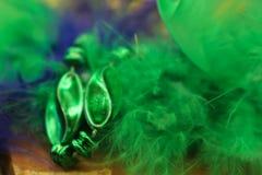 五颜六色绿色和紫色弄脏了与羽毛和小珠的狂欢节背景 图库摄影