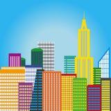 五颜六色背景的城市 免版税图库摄影