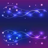 五颜六色背景的星和线 库存图片
