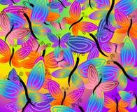 五颜六色背景的蝴蝶 向量例证