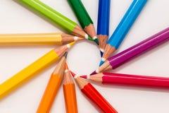 五颜六色许多铅笔 免版税库存图片