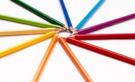五颜六色许多铅笔 免版税库存照片