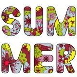 五颜六色词的夏天被绘 向量例证