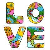 五颜六色词的爱被绘 向量例证