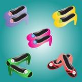 五颜六色鞋子的花 免版税库存照片