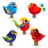 五颜六色鸟逗人喜爱的集合的收藏 库存照片