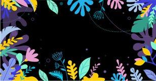五颜六色,充满活力的颜色棕榈叶背景 热带例证,密林叶子 库存例证