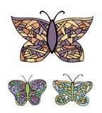 五颜六色蝴蝶的收藏 库存图片