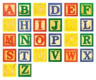 五颜六色ABC木字母表块的油漆 库存图片