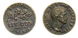五5意大利的分阿尔巴尼亚的货币单位阿尔巴尼亚殖民地acmonital硬币1940年维托里奥Emanuele III王国,第二次世界大战 库存照片