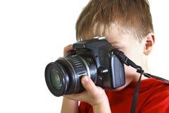 五年男孩被拍摄 图库摄影