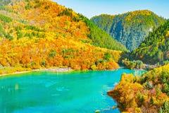 五Flower湖鸟瞰图秋天日出时间的 库存照片