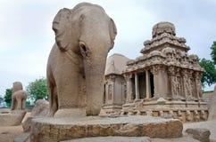 五rathas复杂与在Mamallapuram,泰米尔纳德邦,印度 库存照片