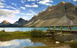 亚伯大弓湖 库存照片