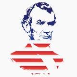 亚伯拉罕・林肯剪影从美国的国旗的纹理的 皇族释放例证