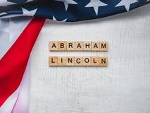 亚伯拉罕・林肯的生日 美丽的贺卡 顶视图 库存图片