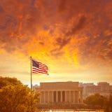 亚伯拉罕・林肯纪念修造的华盛顿特区 库存照片