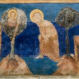 亚伯拉罕` s牺牲 罗马式墙壁绘画 免版税库存图片