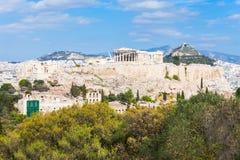 亚典人上城在希腊 库存图片