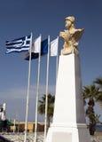 亚典人塞浦路斯kimon拉纳卡海边雕象 库存图片