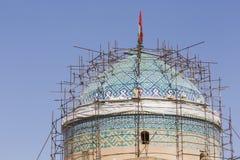 亚兹德,伊朗- 2016年10月07日:亚兹德Jame清真寺在伊朗 的treadled 免版税库存图片