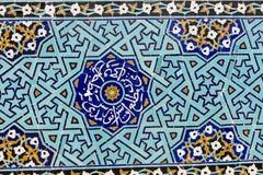 亚兹德,伊朗- 2016年10月07日:铺磁砖的背景,东方ornam 免版税库存图片