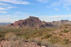 亚利桑那户外沙漠远足在12月 免版税库存图片
