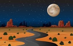 亚利桑那沙漠路在晚上 库存例证