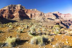 亚利桑那风景大峡谷和Tonto供徒步旅行的小道的遥远的科罗拉多河 库存照片