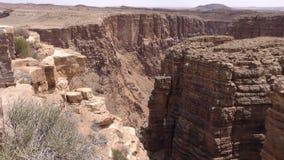 亚利桑那,一点科罗拉多峡谷, A放大在峭壁在小的科罗拉多峡谷 股票录像