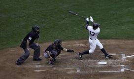 亚历克斯・罗德里格斯打一个本垒打。 库存图片