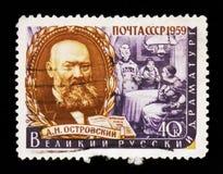 亚历山大・尼古拉耶维奇・奥斯特洛夫斯基的画象1823-1886,俄国剧作家,系列,大约1959年 免版税库存图片