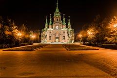 亚历山大・涅夫斯基车里雅宾斯克寺庙正方形的 图库摄影