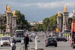 亚历山大三世桥梁巴黎法国 库存照片