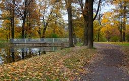 亚历山大公园在Tsarskoe Selo、桥梁和池塘 图库摄影