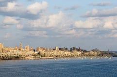 亚历山大埃及港口视图 图库摄影